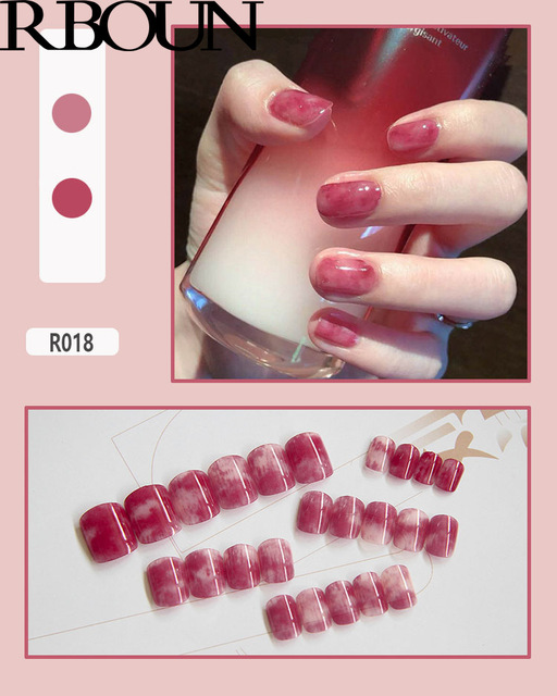 Nail Tip Fake Art Press on Nails with Glue Designs Set Full Artificial Short Packaging Kiss False Clear Cover Tipsy Stick Square 5
