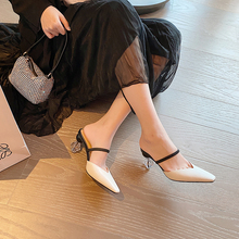 Crystal heel slippers 2020 summer new special-shaped high-heeled shoes female Baotou Muller leather sandals and slippers Z907 summer womens shoes middle aged elderly mothers leather shoes mueller sandals wearing thick heel baotou slippers women yasilaiya
