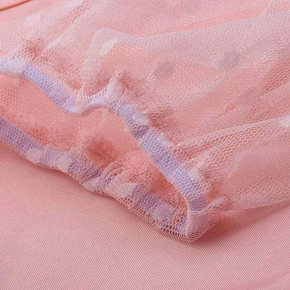 Mujeres Sexy ver a través de malla Crop Top punto encaje camisa señora manga larga cuello cuadrado perspectiva Sheer Top Streetwear #40