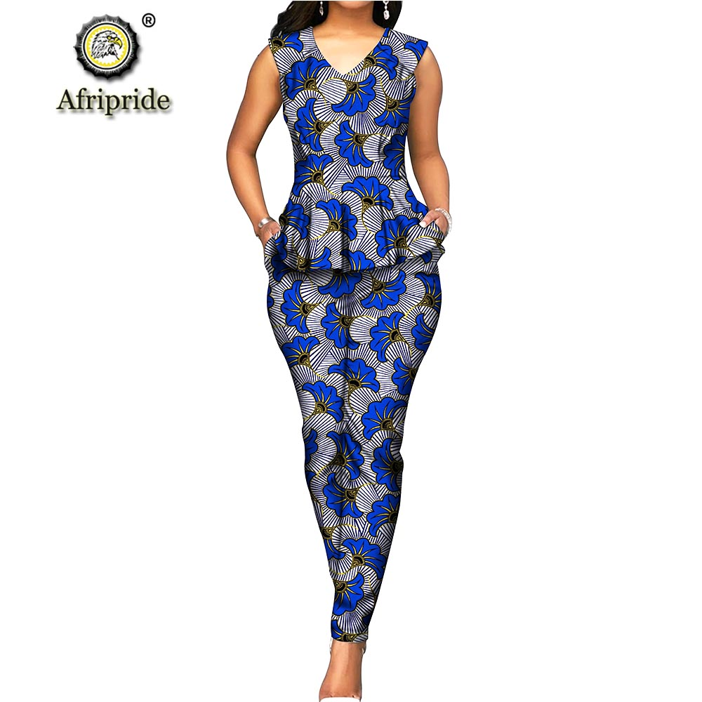 2019 Women`s 2 Piece Set Dashiki Tops Blouse+ Ankara Pants African Print Ourfit Sleeveless V Neck Casual Wear AFRIPRIDE S1926031