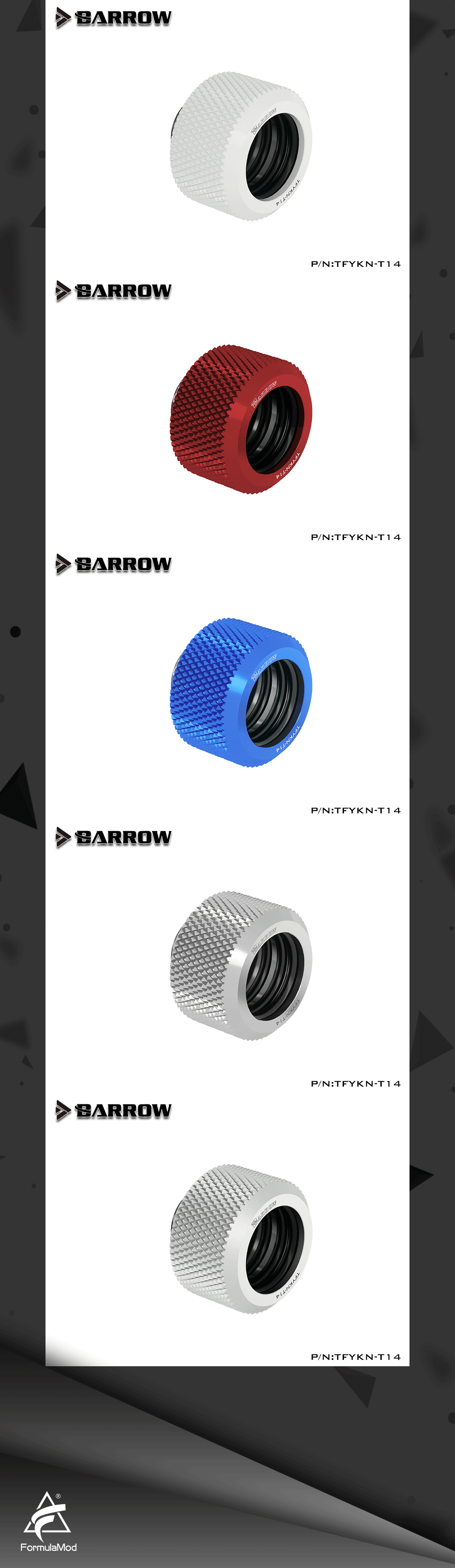 Barrow TFYKN-T14, Choice Hard Tube Fitting Kits, G1/4 Adapters For OD14 Hard Tubes