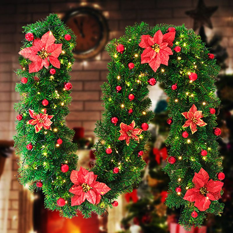 2.7m Artificial Green Pin Christmas Garland Wreath Hanging Ornament Glitter With Fake Flowers Balls Xmas Trees Wedding Decor