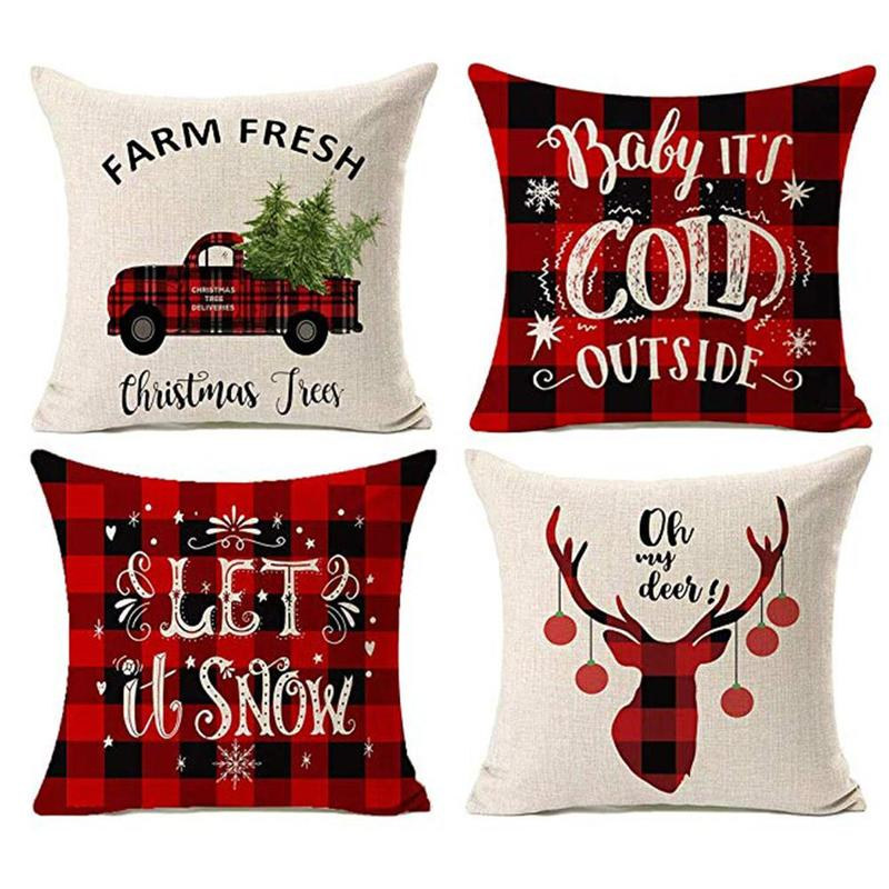 Christmas Decorations Pillow CoversFarmhouse Decor Throw Pillow Cases Retro Truck Cushion Cover