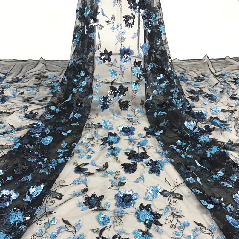 African Tulle Lace Fabric 2020 French Lace Fabric High Quality With Sequins Nigerian Embroidery Tulle French Lace Y5101