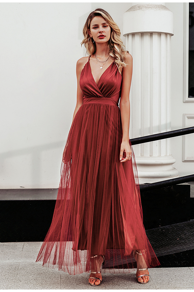 Pink Wine Navy Mesh Lace V Neck Sleeveless Maxi Dress