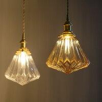 Nordic Hanging Pendant Light glass pendant lamp Retro Pendant Lights Bedroom pendant light brassiness E14 110v 220v