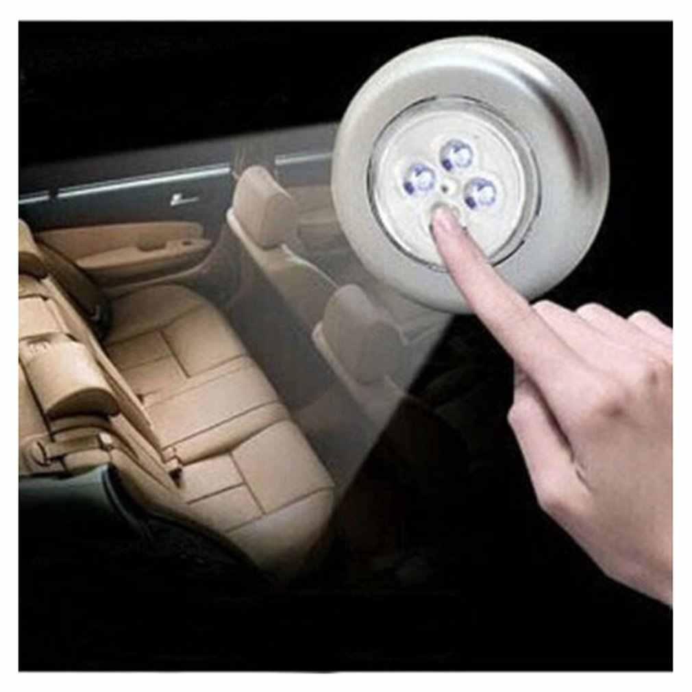4 светодиодный ночник с сенсорным управлением, круглая лампа под шкаф, шкаф, нажимная палка на лампе, для дома, кухни, спальни, для использования в автомобиле