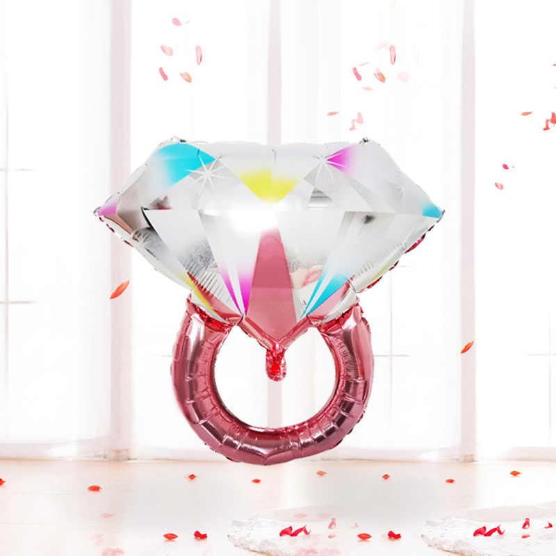 新スタイル提案告白色ダイヤモンドリングモデリングアルミニウム膜バルーン結婚家の装飾バレンタインデーの広告