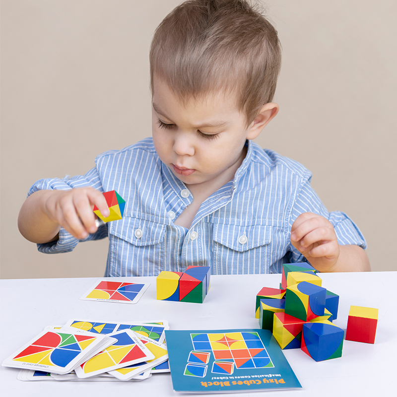 Preschool Baby Toy 3D Jigsaw Puzzle Pixy Cubes Spatial Thinking  Learning Educational Monterssori Wooden Toy For Children