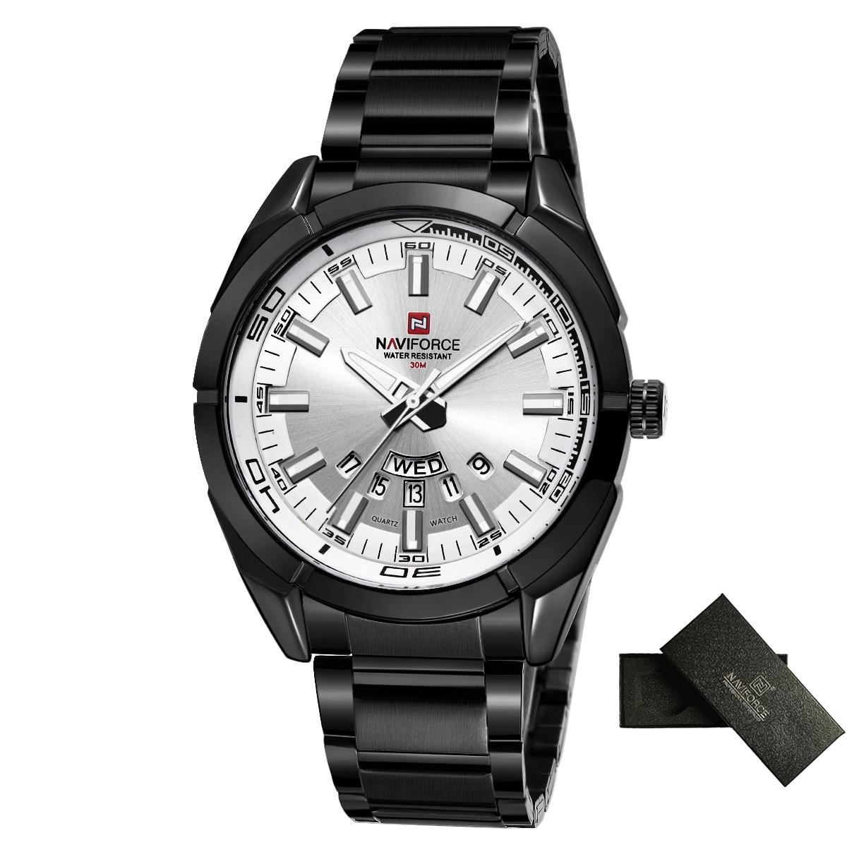 NAVIFORCE Brand Men Watches Business Quartz Watch Men's Stainless Steel Band 30M Waterproof Date Wristwatches Relogio Masculino 6