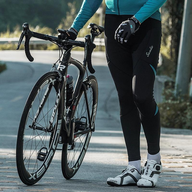 Santic Men Cycling Long Padded Pants 4D Cushion Pad Reflective Thermal Pants Keep Warm Cycling Pants WM8C04107