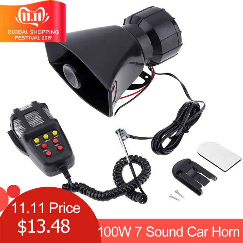 100W 7 son voiture électronique avertissement sirène moto alarme pompiers Ambulance haut-parleur avec micro
