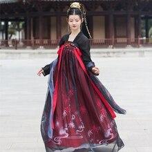 Hanfu robe de spectacle chinoise pour femme, noir et rouge, Costumes de scène, ensemble chinois antique, Festival Oriental Folk