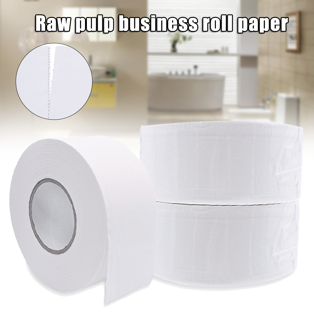 1 Roll 4-ply Paper Tissue Toilet Jumbo Roll Paper Public Hotel Commercial Use Strong Water Absorption Paper  A66