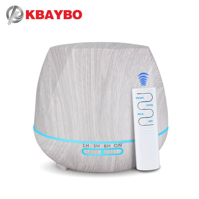 KBAYBO 550ml Remote Control Essential Oil Diffuser Cool Strong Mist Maker Aroma Air Humidifier With 7 Color LED Lights For Home