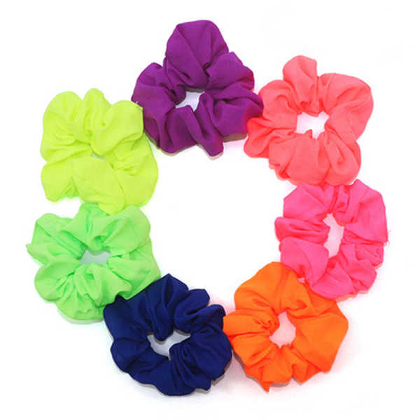Spring Autumn Neon Scrunchies Hair Elastic Hair Ties Hairband Ponytail Holder Fluorescent Color Bright Women Hair Accessories