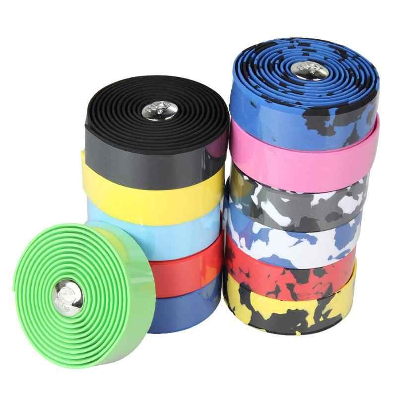 2 uds cinta de manillar de bicicleta de carretera camuflaje deportes de ciclismo montaña cinta para manillar con tapón + 2 Bar enchufe piezas de bicicleta