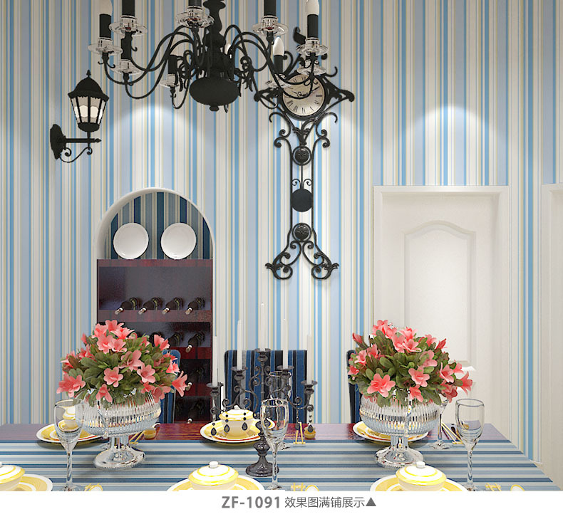 Top Grade Thick Mediterranean-Style Nonwoven Fabric Vertical Striped Wallpaper CHILDREN'S Room Bedroom Living Room Simple Enviro