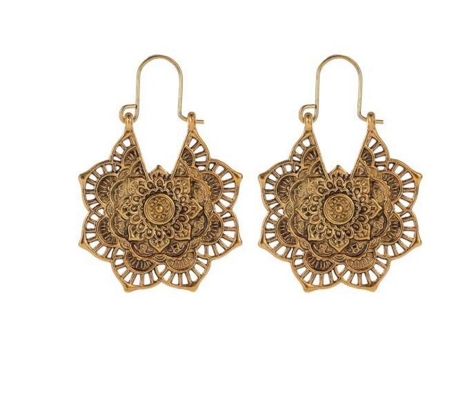 Vintage Mandala Fleur Boucle D'oreille pour Femmes Fille Tribal Creux Floral Pendentif Boucles D'oreilles Pendientes