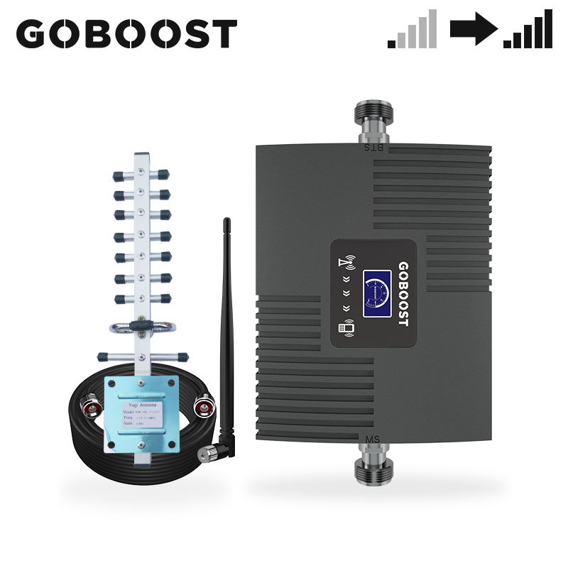 GOBOOST  3G LCD Display Moblie Cellular Phone Signal Booster Repeater Amplifier UMTS 2100 MHz ( Band 1) Yagi Antenna +10M Cable