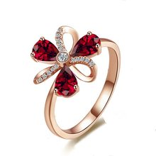 14k Rose Gold Natural Red Ruby Ring For Women Flower Shape Zircon Diamond Wedding Engagement Rings Crystal With Fine Jewelry Box(China)