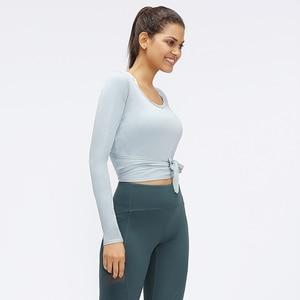 Image 4 - 1 Pc di Trasporto Libero Nwt Sexy Disegno di Allenamento per Il Fitness Yoga Camicia Magliette E Camicette Delle Donne Camicia Lunga Slim Fit Gym Sport Lungo maniche Lunghe Camicette