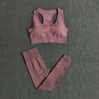 BraPantsWine - Women Seamless Yoga Set Fitness Sports Suits