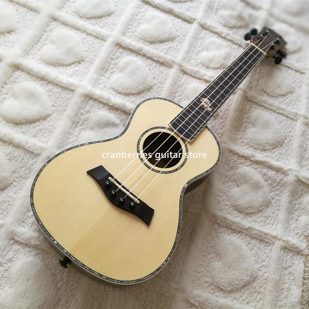 Matt Finished  4 Strings Ukulele,solid Spruce Top Min Acoustic Guitar,abalone Binding And Inlay,rosewood BackFree Shipping