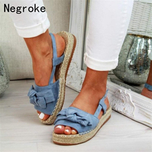 Women Sandals Casual Peep Toe Platform Summer Flat Shoes Bow-knot Espadrilles High Heels Sandalias Mujer 2020