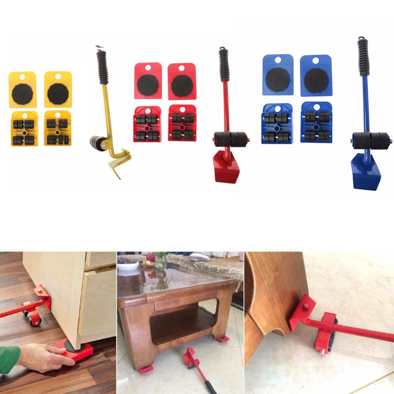 5pcs Furniture Mover Furniture Lifter Tool Set Heavy Stuffs Moving Tool 4 Wheeled Mover Roller+1 Wheel Bar Hand Tool|Hand Tool Sets|   - AliExpress