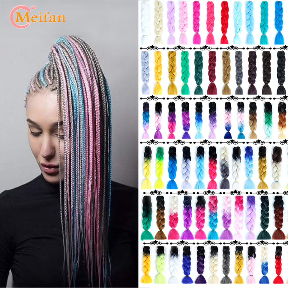 MEIFAN Long Hair Braids Color Ombre Jumbo Kanekalon Braiding Hair Extensions Heat Resistant Synthetic Fake Hair For Braids