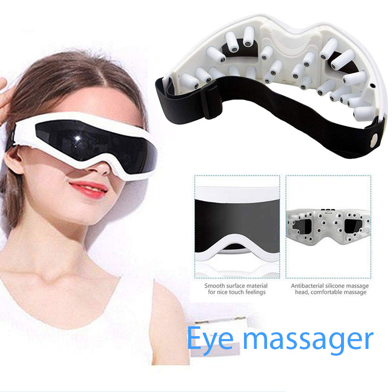 Electric Eye Massager Eyes Care Device Wrinkle Fatigue Relieve Physical Therapy Acupuncture Massage Eyewear Glasses Battery
