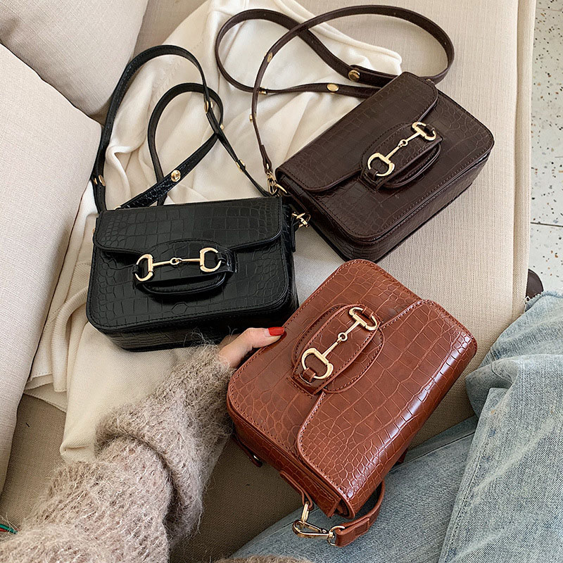 Shoulder Bag For Women 2019 Single Shoulder Crossbody Bag Vintage Alligator Saddle Bags Fashion Casual Messenger Pack Flap