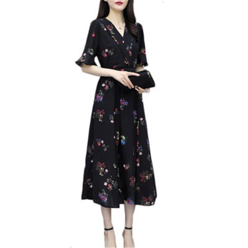 Grande taille 4XL 2019 nouveau été grande taille robe femmes Flare manches imprimé Floral longues robes en mousseline de soie volants femme plage vêtements