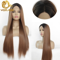 Yomagic Long Straight Synthetic Hair Lace Front Wigs for Women Natural Hairline Brown Color Synthetic Glueless Lace Wigs