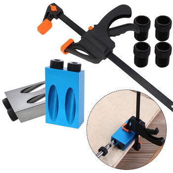 6/8/10mm Pocket Hole Jig Kit Woodworking Angle Drill Guide Set Hole Puncher Locator Jig Drill Bit Set For DIY Carpentry Tools