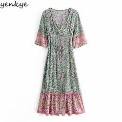 YENKYE в винтажном стиле Цветочный принт в стиле «бохо платье женское сексуальное с v-образным вырезом и поясом трапециевидной формы повседнев...