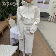 TWOTWINSTYLE White Casual Two Piece Set For Women Hooded Collar Sweatshirt High Waist Drawstring Skirts Female Set 2021