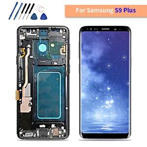 Image 1 - AMOLED SAMSUNG Galaxy S9 Artı LCD dokunmatik ekranlı sayısallaştırıcı grup Çerçeve ile S9 + S9 LCD G960 G965 Yedek