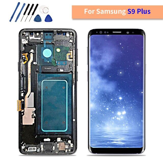AMOLED SAMSUNG Galaxy S9 Artı LCD dokunmatik ekranlı sayısallaştırıcı grup Çerçeve ile S9 + S9 LCD G960 G965 Yedek