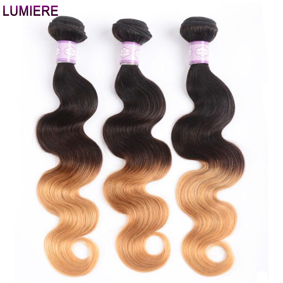 Lumiere Hair Ombre Brazilian Hair Weave Bundles Body Wave 3 Tone T1B/4/27 Non Remy Ombre Human Hair Bundles Can buy 3/4 Bundles-in Hair Weaves from Hair Extensions & Wigs
