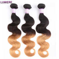 Lumiere Hair Ombre Brazilian Hair Weave Bundles Body Wave 3 Tone T1B/4/27 Non Remy Ombre Human Hair Bundles Can buy 3/4 Bundles