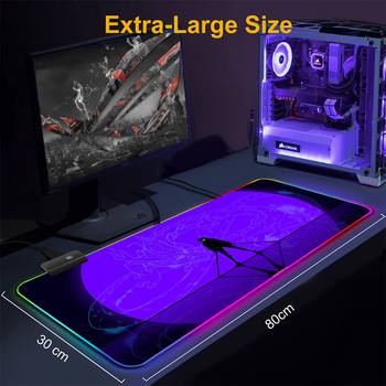 Pc Kawaii Girl Gamer Gaming Decoration KDA League of Legends Seraphine Akali Kayn Lol Ashe Rgb Mouse Pad Led Gamers Accessories 5