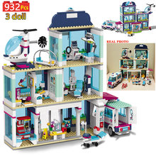 932pcs Heartlake City Hospital Model Building Blocks Compatible Friends Turtles Dolphins Rescue Submarine Bricks for Girls Boys(China)