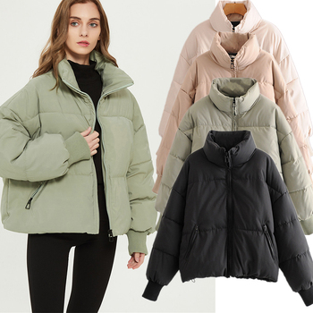 Winter Women Jackets Za 2020 Steetwear Thick Warm Oversized Jackets Long Sleeve Pockets Zipper Solid Female Coats Mujer Tops women drawstring hoodies sweatshirt korean 2020 zipper pockets long sleeve crop tops jackets female clothes autumn white coats