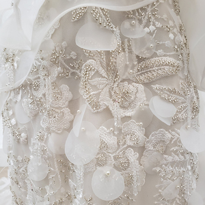Image 5 - HTL1398 V 목 웨딩 드레스 아플리케 인어 웨딩 드레스 환상 신부 드레스 보헤미안 진주