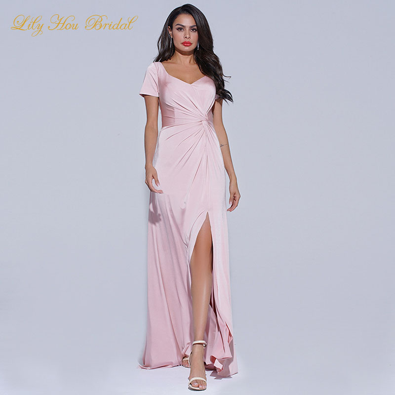 Blush Pink V Neck Short Sleeves Long Bridesmaid Dress Wedding Party Ruched Elegant Maid of Honor Gowns