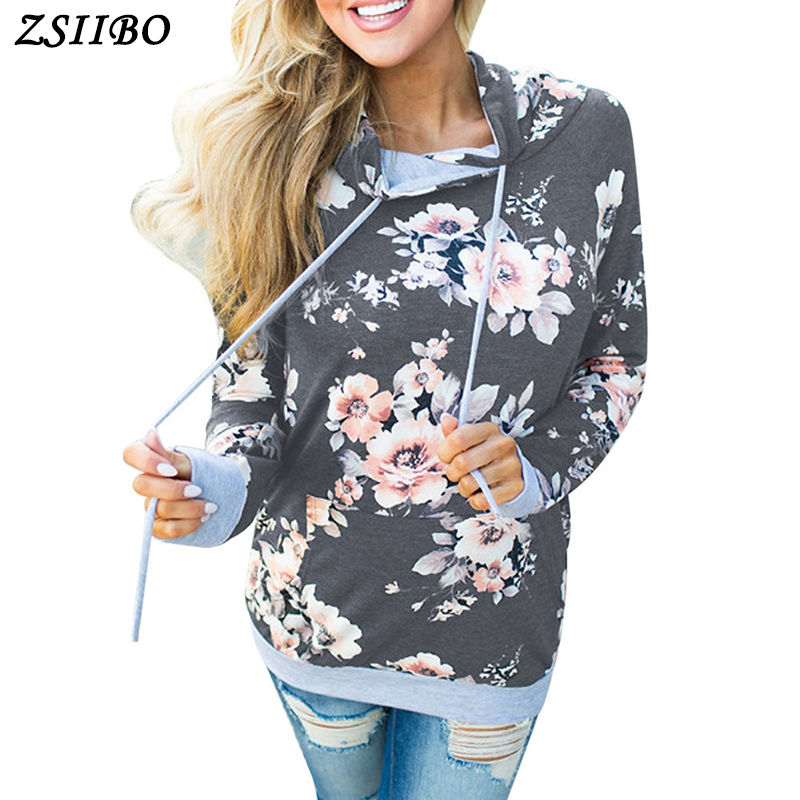 Women Fasion Hoodies Long Sleeve Floral Print Pullover Sweatshirt with Pocket