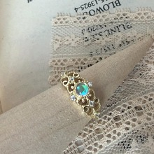 LAMOON 925 Sterling Silver Synthetic Moonstone Vintage Princess Lace Ring 14K Gold Plated Adjustable Fine Jewelry LMRI079