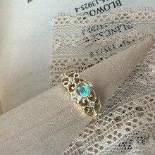 LAMOON Anillo de encaje de princesa Vintage, piedra lunar sintética de Plata de Ley 925, chapado en oro de 14K, joyería fina ajustable LMRI079